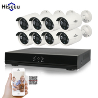 Hiseeu 8CH 1080P HD NVR Kit POE CCTV System 8PCS Cameras 2 0MP Outdoor IP Camera