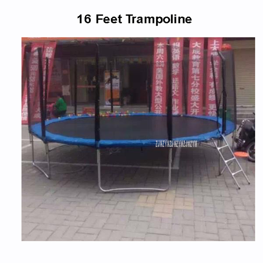 16 Feet Practical Trampoline With Safe Protective Net Jump Safe Bundle Spring Safety With Ladder High Quality Load Weight 700kg