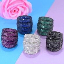 GODKI Роскошные широкие штабелируемые геометрические кольца с фианитами для женщин, Свадебные обручальные дубайские кольца на палец, ювелирные изделия, наркомания