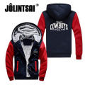 New Men's Sportswear Cowboy Dallas Team Zipper Jacket Sweatshirts Letter Printing Pattern Thicken Fleece Hoodie Men Coat 7XL