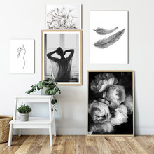 Minimalist Feather Canvas Prints Black And White Pictures For Living Room Modern Posters Scandinavian Picture