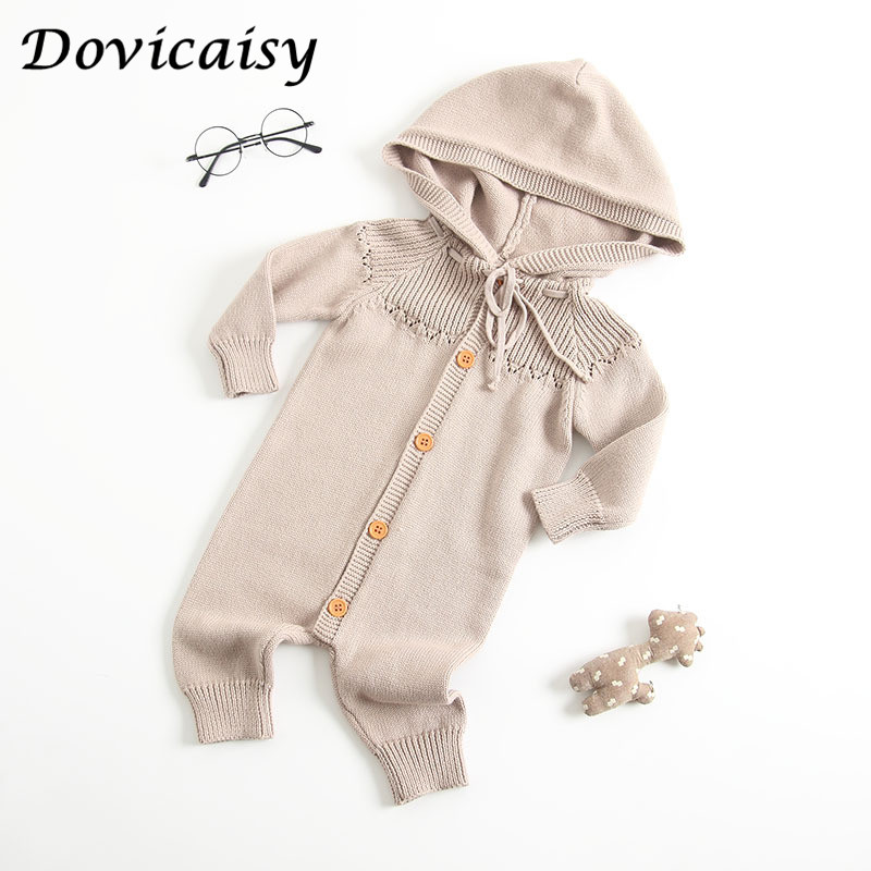 09b1eb7d5 0 2Y baby knitted romper with hat autumn winter warm thick jumpsuit ...