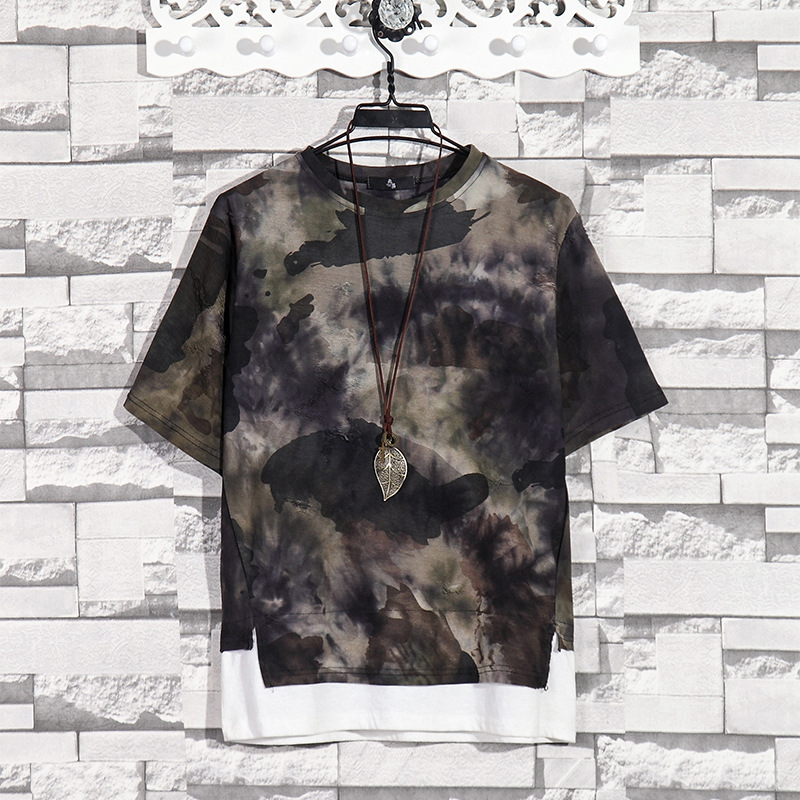 Summer New Fashion Retro Print Men T Shirt Camouflage Short-sleeved T-shirt Male Round Neck Loose Large Size T-shirt 11