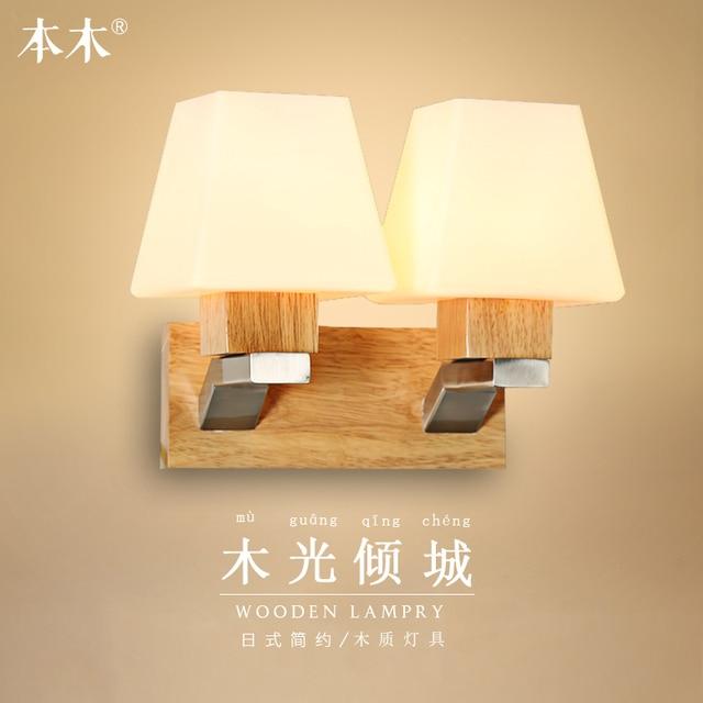 Applique Murale En Bois De Chêne Lampe à Led De Style Japonais
