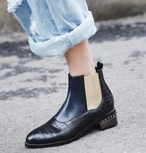 Fashion New Chelsea Western Ankle Boots Pointed Toe Women Flats Winter Warm Shoes Woman wo1808116 mabaiwan handmade rivets men shoes snow ankle boots metal pointed toe leather wedding shoes men s flats military chelsea boots