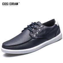 Autumn Soft Bottom PU Leather Casual Shoes Comfortable Lace-Up Fashion Men Shoes British Style Leisure Male Footwear RME-175