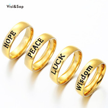 Visisap English Letter HOPE PEACE LUCK WISDOM Titanium Steel Rings for Women Man Yellow Gold Color Graduation Gifts Ring S-R80 visisap titanium steel wide men ring size 7 14 dropshipping yellow black steel gold color rings for birthday gifts jewelry s r35