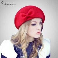Sedancasesa Female England British Australian Wool Felt Beret Hat Women Lady French Artist Red Black Flat