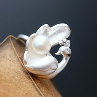 Pearl jewelry 925 sterling silver lady peacock ring