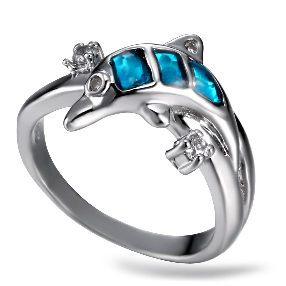lemoer 2017 new coming cute animals dolphin blue gem crystal ring silver plating aaa cubic zirconia - Dolphin Wedding Rings
