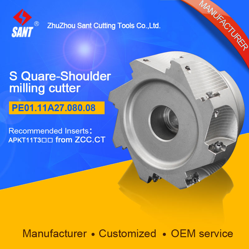 Zhuzhou Sant Indexable milling cutter with 90degree EMP02-080-A27-AP11-08/PE01.11A27.080.08 Mached carbide insert APKT11T304