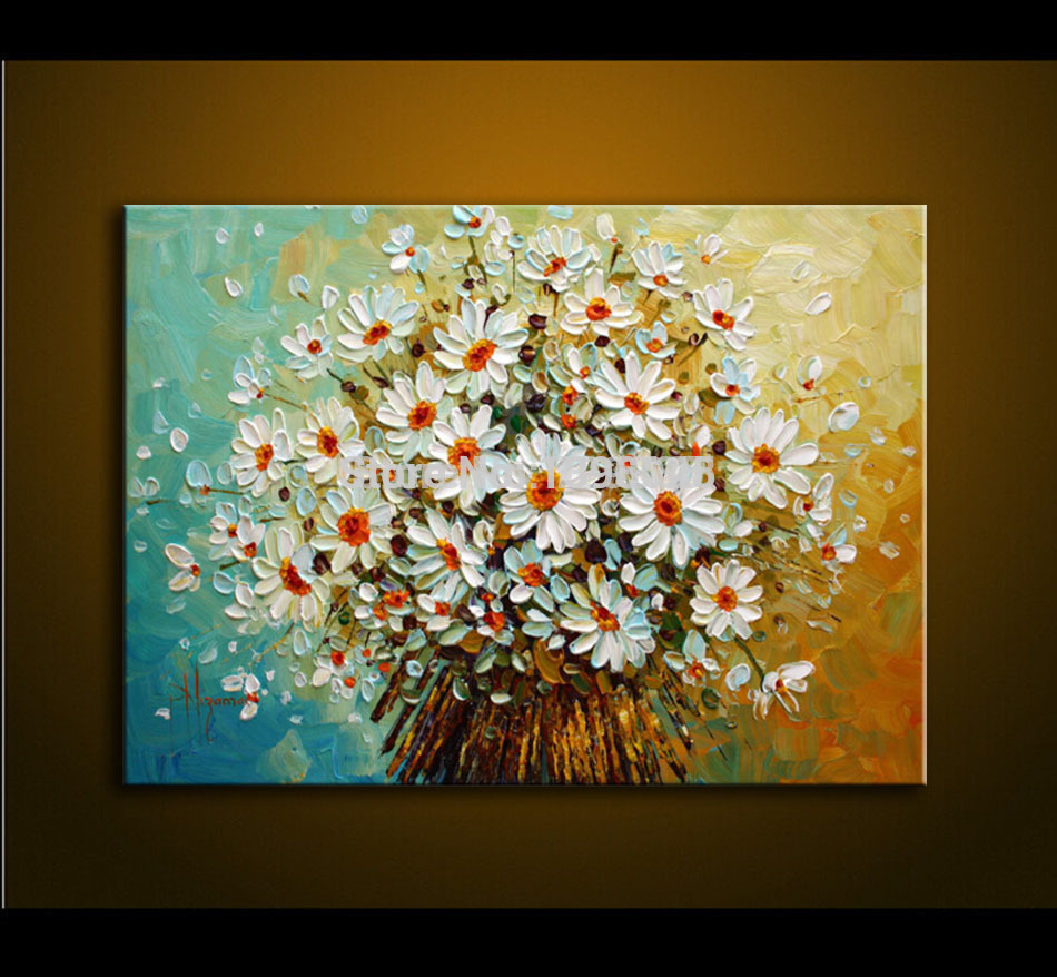Modern oil painting palette knife thick paint white for What paint for canvas