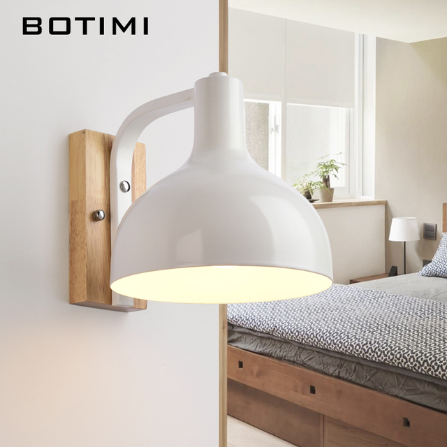Superior BOTIMI Nordic White Wall Lamp For Living Room E27 Bedroom Wall Light Metal  Wood Wall Sconce