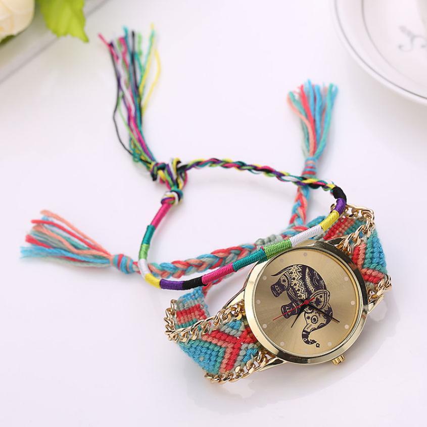2017 Women Girl Handmade Weaved Braided Elephant Bracelet Dial Quarzt Watch For Ladies Students Girls price waterhouse llp wiley not–for–profit gaap 1998