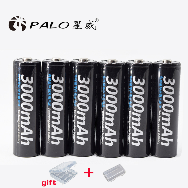 PALO 6PCS 1.2 V Ni-MH batteries charging 3000 mAh rechargeable battery Batteries for toy car stick new type of battery 14 4 v ni mh 2000 mah robot vacuum cleaner rechargeable battery for liberov m600 m606 v bott270 27