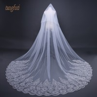 Cathedral Wedding Veil With Comb Sequins Lace Appliques Soft Tulle 3m Meters Long Bridal Veil Wedding Accessories