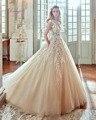 Dreagel Venta Caliente Botón Scoop Escote Apliques Sashes Robe de Mariage Vestido de Novia A-line 2017 Magnífico Vestido de Novia Más El Tamaño