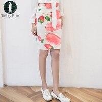 Today Plus 2017 Fashion Women Pencil Skirts Slim Elastic Fruit Pattern Slit Knee Length Cute Ladies