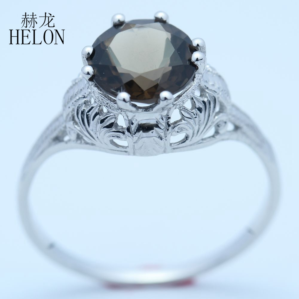 HELON 8mm Round Smokey Quartz Sterling Silver 925 Art Nouveau Ring Vintage Style Cocktail Engagement Wedding Ring Women Jewelry серьги art silver art silver ar004dwzmh30
