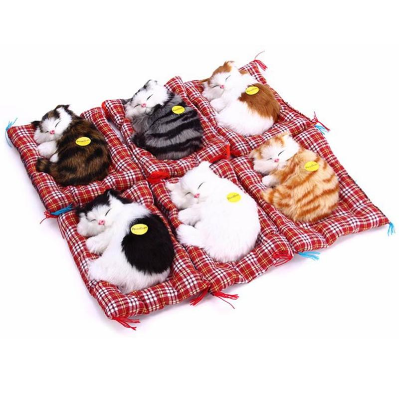 Lovely Sleeping Cats Toy Simulation Animal Doll Plush With Sound Kids Birthday Gift Doll Decorations Stuffed Home Decor R1