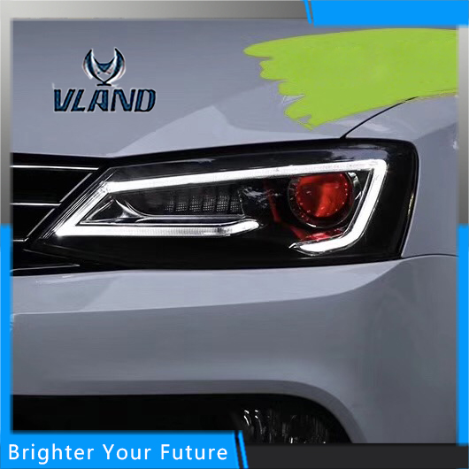 LED Head Lamp For Volkswagen Jetta 2012-2016 Headlights Bi Xenon Projector lens for volkswagen polo mk5 vento cross polo led head lamp headlights 2010 2014 year r8 style sn