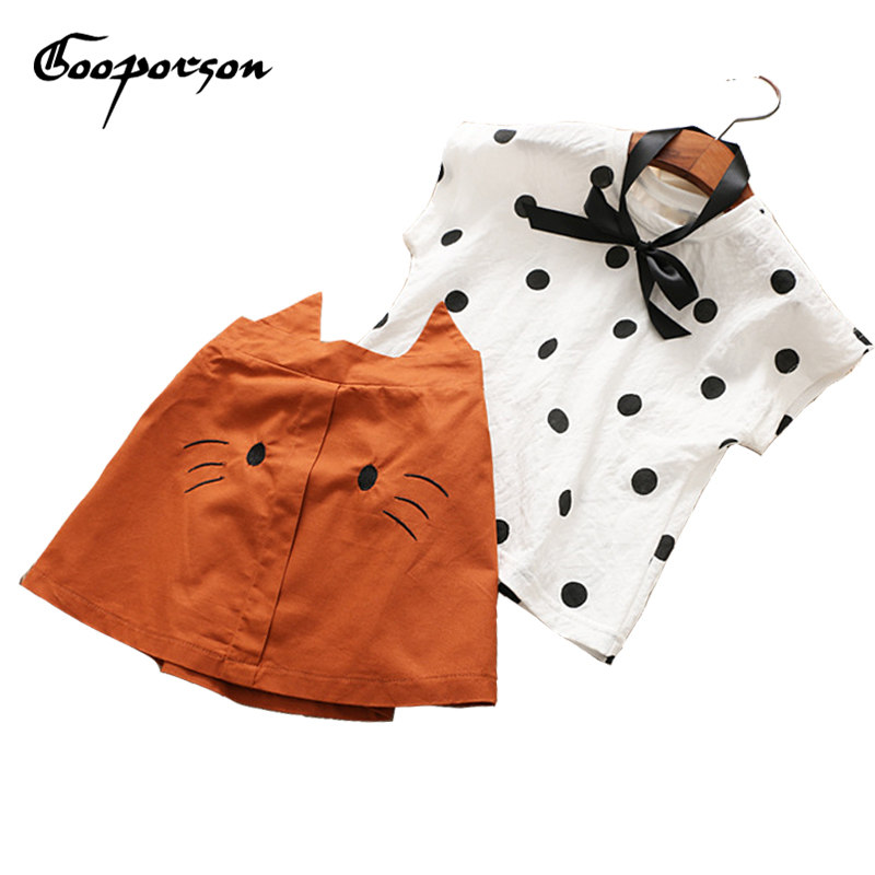 Girls Fashion Clothes Set New Lovely Dot Shirt With Cat Skirt Summer Outfit Sets Cotton Clothing Set For Kids And Children Sets стоимость