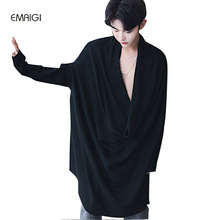 Male Knitted Sweater Men Women Large V-collar Loose Pullover Knitwear Plus Size Fashion Show Casual Bat Sleeve Long Sweater