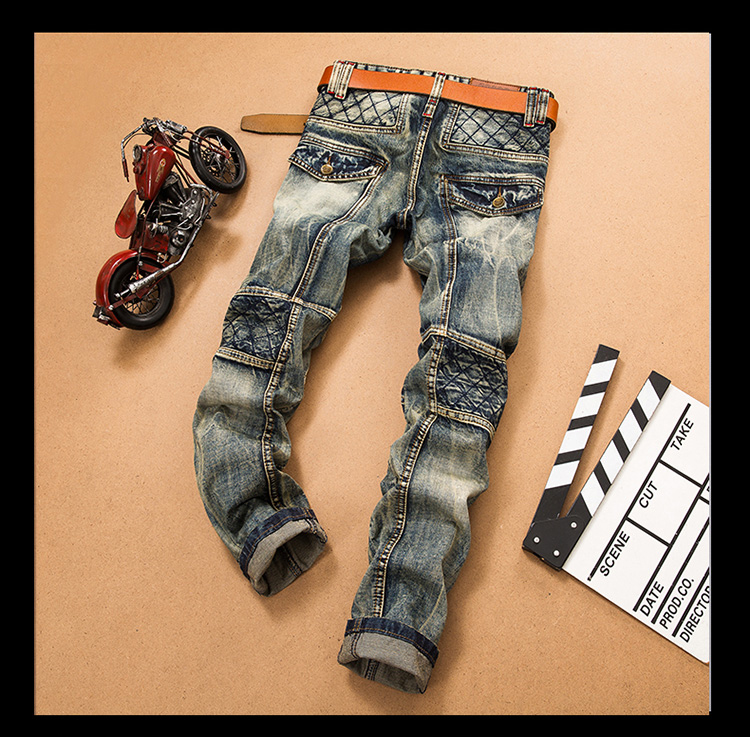61666274 LetsKeep New slim straight jeans for men biker vintage ripped jeans mens  plaid Designer splice jeans pants, (no belt) MA356