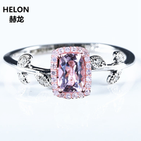 Art Deco Solid 14k White Gold Solid 14k Rose Gold Natural Diamonds 4x6mm Cushion Morganite Wedding