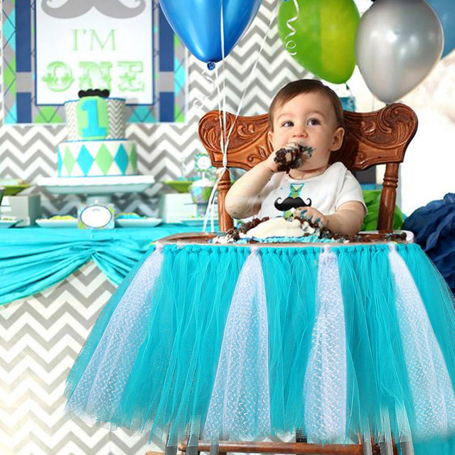 Baby Shower Boy Party Set Tutu Tull Skirt For High Chair Decorations A Girl 1st Birthday Decoration Blue Pink