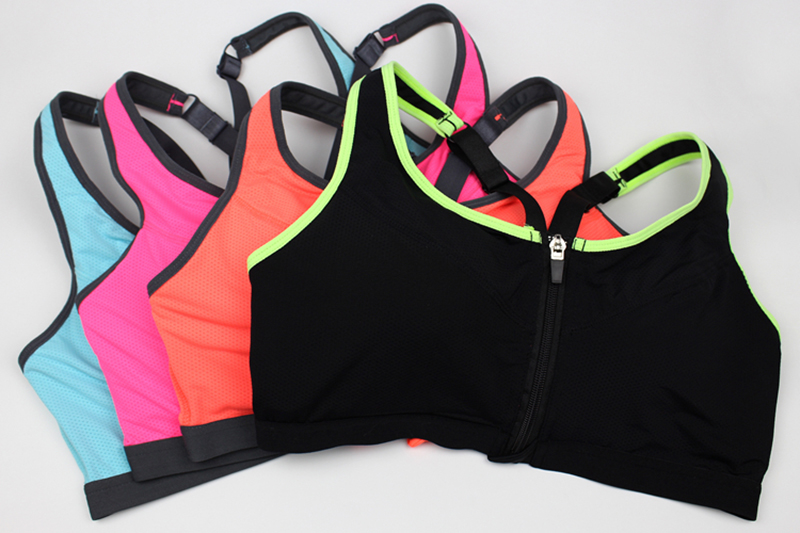 Women Zipper Front Yoga Shirts for Running Gym Fitness Comfortable Sport Bra Crop Tops Double Layers Bra for Woman (2)