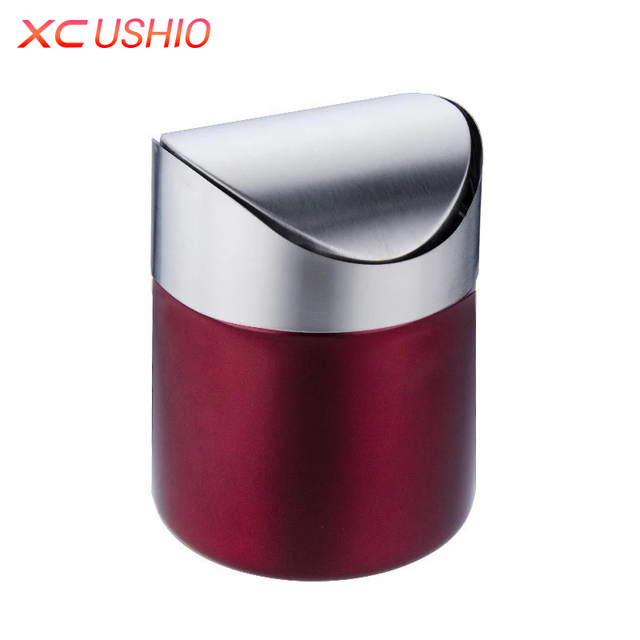 Etonnant Stainless Steel Desktop Trash Bin Home Office Trash Can Mini Car Rubbish Bin  Detachable Rolling Cover