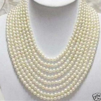 Beautiful 8 rows 6 7mm fashion white freshwater round natural pearl diy necklace jewelry making 50 inch BV350