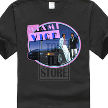New Miami Vice 80's Retro Tv Series Don Johnson Men's Black T Shirt Size S 3xl Tees Brand Clothing Funny Tshirt