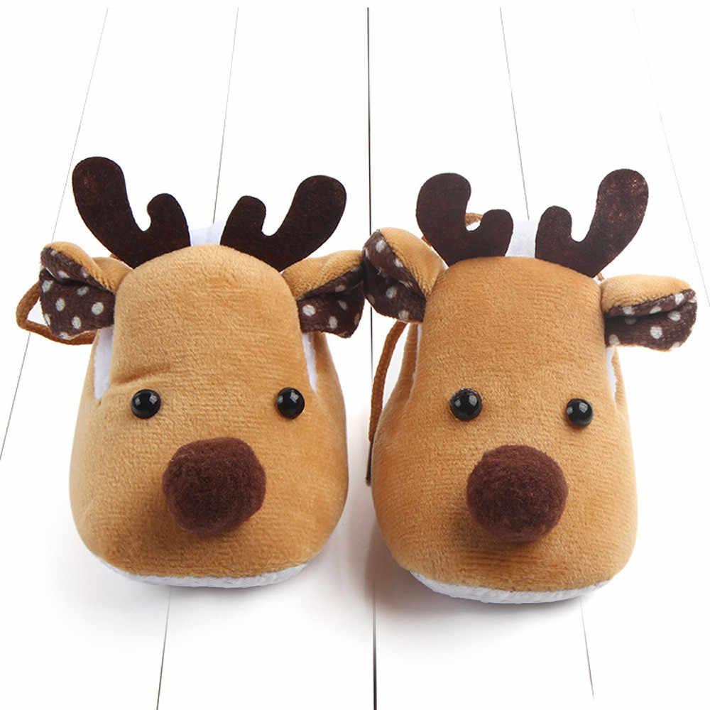 2018 ใหม่มาถึงรองเท้าเด็กคริสต์มาสกวางรูปร่างเด็กทารกแรกเกิดนุ่มแบนเด็กทารก Crib รองเท้า Soft Sole รองเท้าผ้าใบกันลื่น