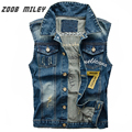 ZOOB MILEY Denim Jeans Vest Men Cowboy Male Ripped Jacket Sleeveless Frayed Patch Designs Jeans Waistcoat Tanks Plus Size 3XL