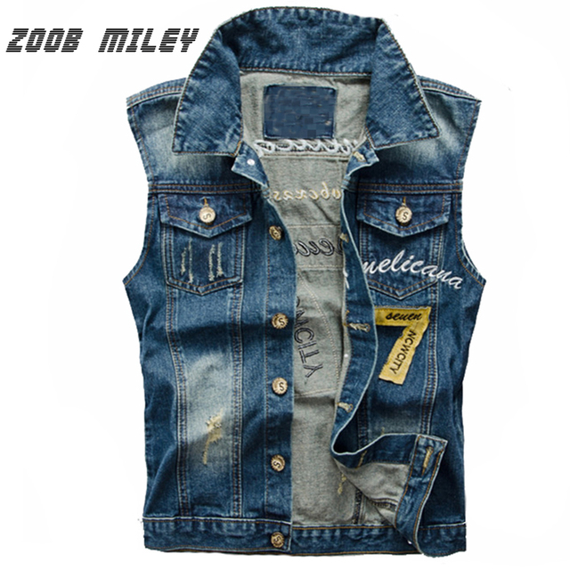 2b1a592f916 ZOOB MILEY Denim Jeans Vest Men Cowboy Male Ripped Jacket Sleeveless Frayed  Patch Designs Jeans Waistcoat Tanks Plus Size 3XL