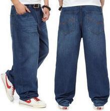 Neue Mode baggy-jeans hosen mann dunkelblau farbe Hiphop lose skateboard männer jeans große größe 30-46 Pantalones