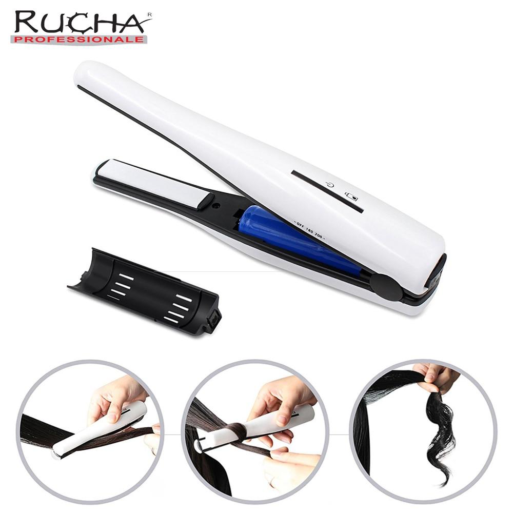 RUCHA Ceramic Mini Hair Straightener Curler Li ion Rechargeable Battery Hair Iron Portable Travel Hair Straightening