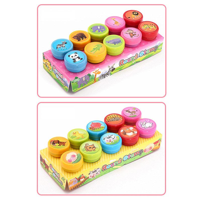 Image 3 - Round Multicolor Fun 10 Pcs Cute Panda Child DIY Scrapbook Kids Stamp Cartoon Rubber Stamps Scrapbooking Reward Toy-in Stamps from Home & Garden