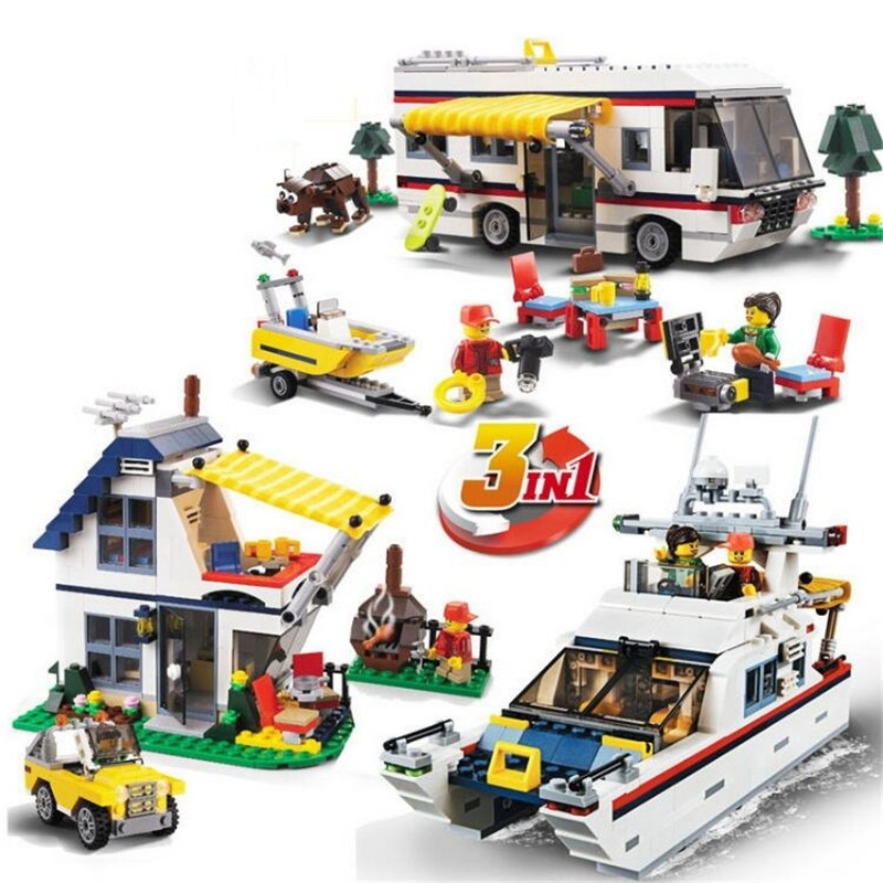 3117 Vacation Getaways Camper Summer home Architect 3 in 1 Building Block Set 2 Mini Dolls Kids model Toys gonlei 3117 city creator 3 in 1 vacation getaways building blocks bricks kids model toys marvel compatible with