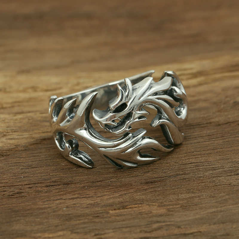 S925 sterling silver mens ring handmade personality classic retro style flame dragon shape love lovers jewelry gift 2018 new