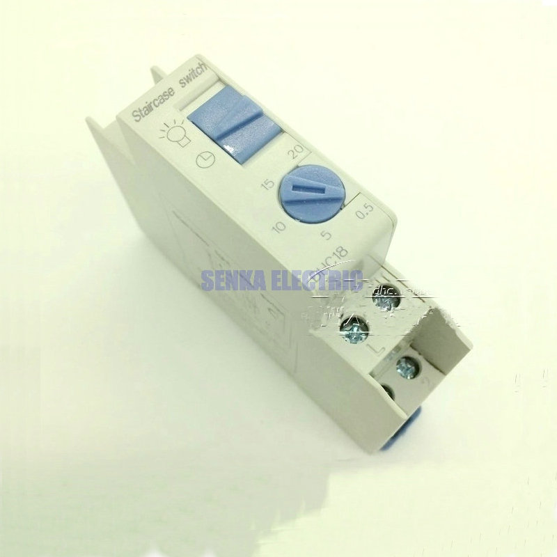 Din Rail Stair Lighting Automat Timer 220V 16A Staircase Time Delay Switch DHC 18 ac220 240v 16a 250v mechanical din rail 20mins programmable timer switch staircase light alc18 0 5min 5min 10min 15min 20min