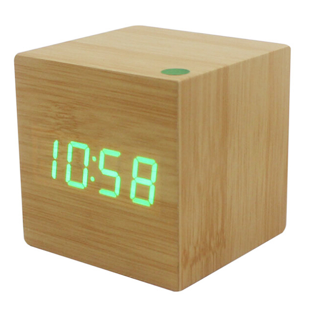 Wood Cube LED Alarm Control Digital Desk Clock Wooden Style Room Temperature Bamboo wood green led