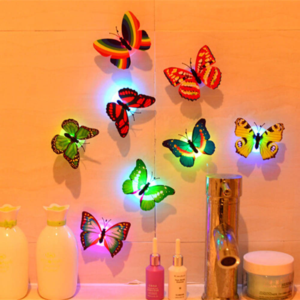 10Pcs Colorful  LED Lamp Home Decor Wall Night Lights Decoration Mix Color Butterfly Wall Stickers Night Light Flashing