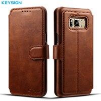 KEYSION Case For Samsung Galaxy S8 S8 Plus Fashion Wallet Card Slots PU Leather Flip Case