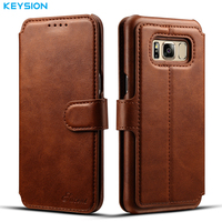 KEYSION Case For Samsung Galaxy S8 S8 Plus Fashion Wallet Card Slots PU Leather Flip Case