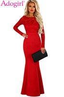 Adogirl Red Lace Long Sleeve Bow V Back Maxi Dress 2018 New Elegant Women Mermaid Long