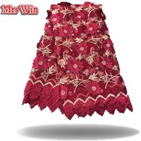 Exquisite Cotton Lace Cloth Bilateral Embroidery Lace Fabric Wine Red Skirt Handmade Diy Clothes Appliques Sun