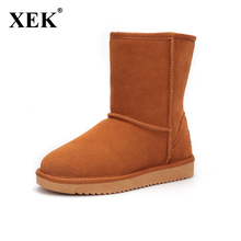 XEK brand Women Snow Boots Fashion High Quality Genuine Suede Leather Australia Classic Warm Winter shoes woman 5825 5854
